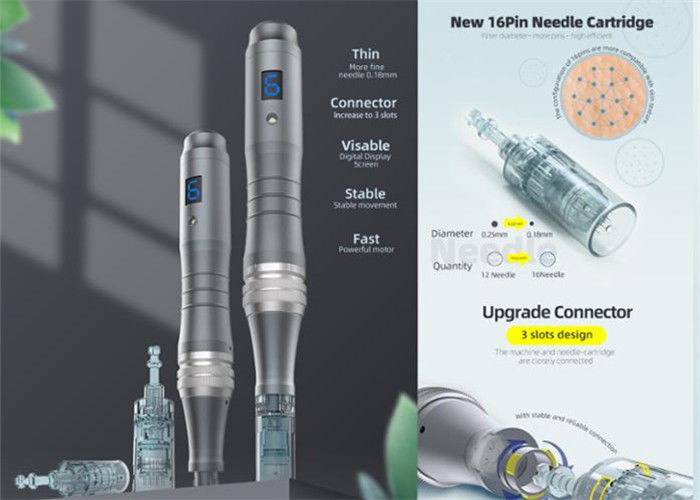 6 Levels Wired Wireless Micro Derma Pen with Optional 16pin Needles